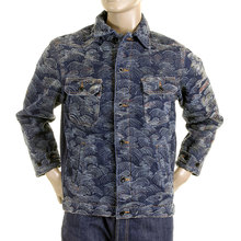 RMC Martin Ksohoh Mens R6MCJK498WF2XXR1 Regular Fit Denim Jacket With Front Flocked Tsunami Waves REDM2821
