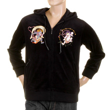 RMC Martin Ksohoh Mens Black Velvet Regular Fit Hooded Zip Up Jacket With Fujin And Raijin Embroidery REDM2356