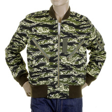 RMC Jeans Regular Fit Green Camo RQZ1095 Bomber Jacket for Men with Zip Front Closure REDM2346A