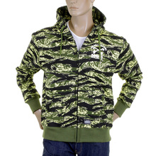 RMC Jeans Regular Fit Green Tiger Camo RQZ1087 Hooded Jacket for Men with Full Zip Front Closure REDM2305