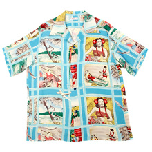 Sun Surf Mens SS33326 Hawaiian Blue Regular Fit Short Sleeve Cuban Collar Shirt with Fly to the Paradise Print SURF9050