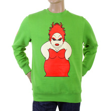 RMC Martin Ksohoh Mens Large Fitting Lime Green RWH141264 Crew Neck Red My Girl Printed Sweatshirt REDM0956