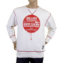 RMC Martin Ksohoh Mens Large Fitting White RWH141264 Crew Neck Red Crazy Children Printed Sweatshirt REDM0928