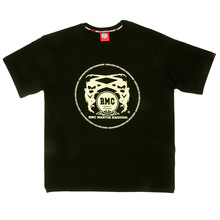 RMC Martin Ksohoh Regular Fit Short Sleeve Crew Neck Black T Shirt with Off White Logo Print REDM0108