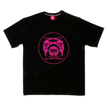 RMC Martin Ksohoh 100% Cotton Regular Fit Crew Neck Short sleeve Printed Fuscia Logo T-shirt in Black REDM0129