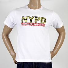 RMC Martin Ksohoh Short Sleeve RQT11063 Regular Fit Crew Neck White T Shirt with NYPD Camo Print REDM0992