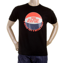 RMC Martin Ksohoh Crew Neck Regular Fit RQT1077 Short Sleeve Black T Shirt with Basketball Print REDM0970