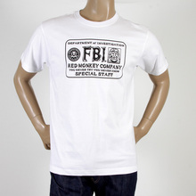 RMC Jeans White Cotton RQT11067 FBI Printed Regular Fit Crew Neck T Shirt REDM0994