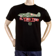 RMC Jeans Crew Neck RQT1076 Regular Fit Short Sleeved Black T Shirt with Tiger Plane Print REDM0968