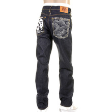 RMC Jeans White Painted Logo Super Exclusive Dark Indigo 1001 Model Slim Fit Raw Denim Jeans for Men REDM0444