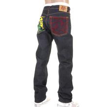 RMC Jeans Dark Indigo Genuine 1001 Model Tsunami Wave Embroidered Slim Cut Painted Logo Raw Denim Jeans REDM1169