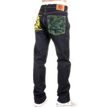 RMC Jeans Rare 1001 Model Embroidered Tsunami Wave Slim Cut Painted Logo Raw Denim Dark Indigo Jeans REDM1425