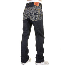 RMC Martin Ksohoh Rare Vintage Cut Dark Indigo Raw Denim Jeans with Off White Tsunami Wave Embroidery REDM1787