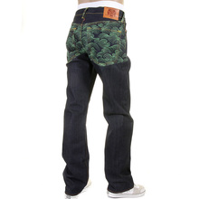 RMC Martin Ksohoh Exclusive Vintage Cut Dark Indigo Raw Denim Jeans with Green Tsunami Wave Embroidery REDM1881