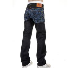 RMC Martin Ksohoh Genuine Vintage Cut Dark Indigo Raw Denim Jeans with Blue Tsunami Wave Embroidery REDM1910
