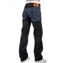 RMC Martin Ksohoh Genuine Vintage Cut Dark Indigo Raw Denim Jeans with Blue Tsunami Wave Embroidery REDM1910