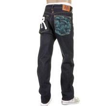 RMC Dark Indigo Slimmer Cut 1001 Model Rock N Roll 888 and Tsunami Wave Embroidered Raw Denim Jeans REDM5036