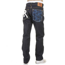 RMC Jeans Dark Indigo 1001 Model Slimmer Cut 888 Raw Denim Jeans with R&R and Tsunami wave Embroidery REDM5037