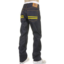 RMC Super Exclusive Yellow Hand Painted Dark Indigo Slim Cut 1001 Model Raw Denim Jeans for Men REDM5648