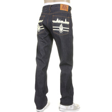 RMC Jeans Vintage Monkey New York and London 1001 Model Slimmer Cut 999 Raw Denim Jeans in Dark Indigo REDM5817