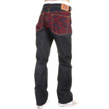 RMC Jeans Rare Scarlet Tsunami Wave Full Back Embroidered Genuine Raw Vintage Cut Denim Jeans REDM6311
