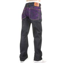 RMC Jeans Exclusive Violet Tsunami Wave Embroidered Genuine Raw Vintage Cut Denim Jeans REDM6312