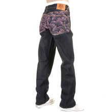 RMC Jeans Exclusive Enchanted Pink Tsunami Embroidered Genuine Raw Vintage Cut Denim Jeans REDM6315