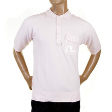 Evisu Short Raglan Sleeve Washed Pale Pink Polo Shirt for Men EVIS3121