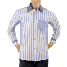 Etienne Ozeki sky blue striped shirt ETIE2695