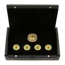 RMC Jeans Custom Made Precious Stone Green Garnet Gift Box Button Set RMC2380