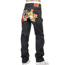 RMC Martin Ksohoh RQP11091 Mens Slim Cut 1001 Indigo Unwashed Raw Selvedge Embroidered Casino Denim Jeans REDM1217