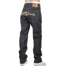 RMC Jeans Dark Indigo RQP11118 Unwashed Raw Denim Jeans with Tiger Camo Plane Embroidery REDM1241