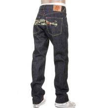 RMC Jeans Dark Indigo RQP11118 Unwashed Raw Denim Jeans with Tiger Camo Plane Embroidery REDM1241
