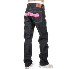 RMC Jeans Slimmer Cut 1001 Model Pink Camo Embroidered RQP11050 Selvedge Raw Unwashed Denim Jeans REDM1243