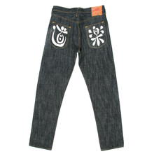 Evisu Dark Indigo Painted Pocket Raw Selvedge Denim Jeans for Men EVIS6358