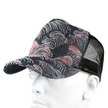 RMC Jeans Mens Black Mesh Cap with Pink Flocked Tsunami Wave Design REDM5902
