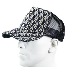 RMC Jeans Mens Black Mesh Silver Logo Embroidered Cap REDM9098