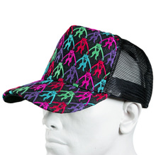 RMC Jeans Black Mesh with Multi Colour Combo Embroidered Cap for Men REDM9101