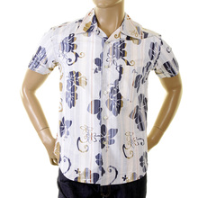 Evisu Mens Cotton 1 Pocket Short Sleeve Regular Fit Ink Blue Shirt with Cuban Collar EVIS0136