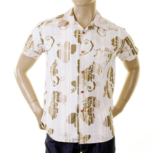 Evisu Genuine Deluxe 1 Pocket Regular Fit Short Sleeve Camel Coloured Cotton Shirt with Cuban Collar EVIS0135