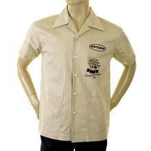 Evisu Khaki Cotton Cuban Collar Early Original Short Sleeve Regular Fit Station Shirt EVIS2351