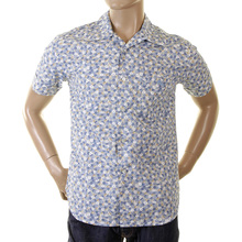 Evisu Deluxe Mens Genuine Rare Cotton Regular Fit Cuban Collar Short Sleeve Jacquard Pattern Floral Print Shirt EVIS0140