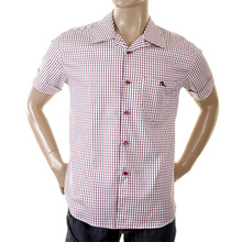 Evisu Original Rare Short Sleeve 1 Pocket Shirt with Small Check in Red, Blue and White EVIS0138