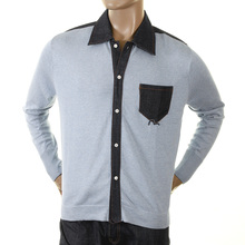 Evisu Original Rare Sky Knitted Cotton Long Sleeve Denim Trim Shirt with Ribbed Sleeve Cuffs EVIS0160