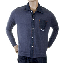 Evisu Rare Original Knitted Cotton Long Sleeve Denim Trim Shirt in Ink Blue with EVIS0155