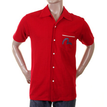 Evisu Red Short Sleeve 24hr Denim Laundry Regular Fit Pique Bowling Shirt EVIS0102