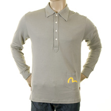 Evisu Genuine Rare Grey Tailor Salon Regular Fit Long Sleeve Jersey Polo T-shirt EVIS1112