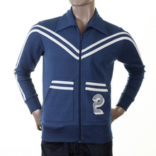 Evisu Mens Ink Blue Rare Genuine Collared Regular Fit Retro Track Jacket with Zip Front EVIS0153