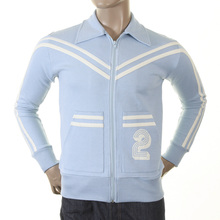 Evisu Mens Sky Blue Early Original Zip Front Regular Fit Collared Retro Track Jacket EVIS0146
