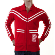 Evisu Mens Early Original Red Collared Regular Fit Zip Front Long Sleeved Retro Track Jacket EVIS0141
